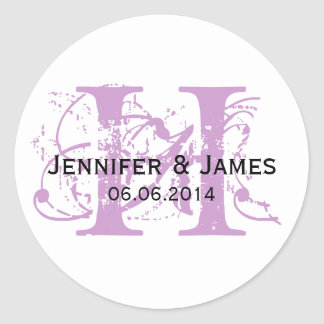 Purple Save the Date Initial Names Wedding Sticker