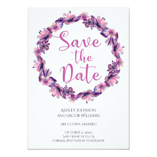 Purple save the date Lavender wedding announcement