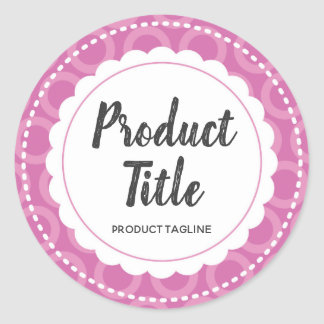 Purple Scalloped Circle Label