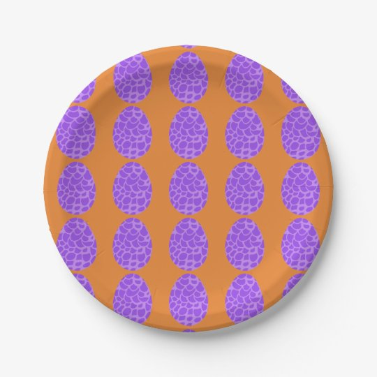 Purple Scalloped Easter Eggs 7 Inch Paper Plate