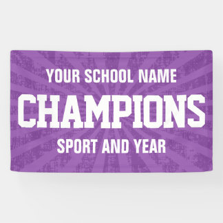Purple school sports team champions banner