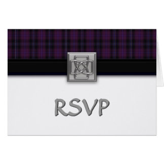 Purple Scottish Tartan Wedding RSVP Notecard
