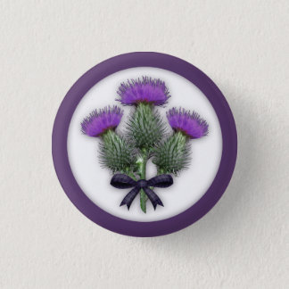 Purple Scottish Thistles with Tartan Plaid Bow 1 Inch Round Button