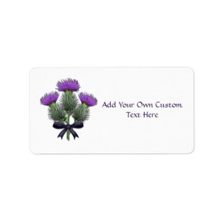 Purple Scottish Thistles with Tartan Plaid Bow Label