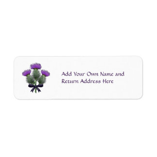 Purple Scottish Thistles with Tartan Plaid Bow Return Address Label