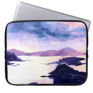 Purple Scottish Watercolour Painting Laptop Case