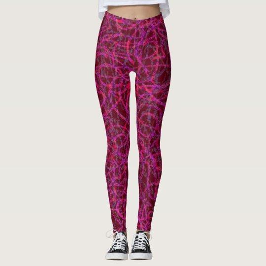 Purple scribbled lines pattern leggings