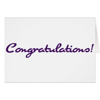 Purple Script Congratulations Celebration Card