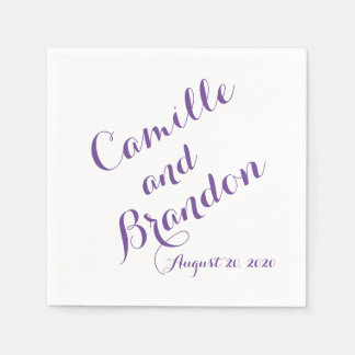 Purple Script Wedding Paper Napkins