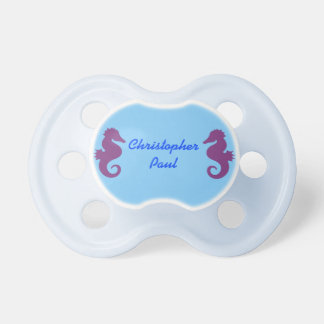 Purple Seahorses on Blue Personalized Pacifier