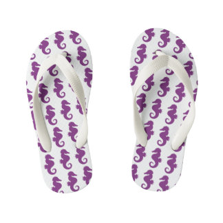 Purple Seahorses Pattern Kid's Flip Flops