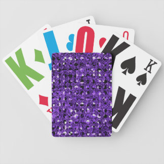Purple Sequin Effect Bicycle Playing Cards