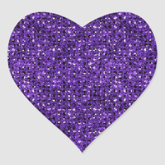 Purple Sequin Effect Heart Sticker Sheets