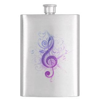 Purple Shaded Treble Clef Classic Flask