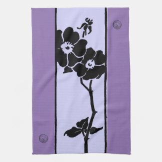 Purple Shades: Dark and Light Open Flowers Kitchen Towel