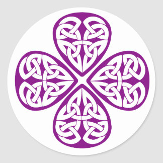 purple shamrock celtic knot classic round sticker
