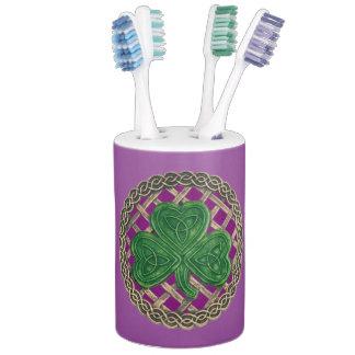 Purple Shamrock On Celtic Knots Bath Set