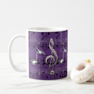 Purple Sheet Music & Silver Music Notes Coffee Mug