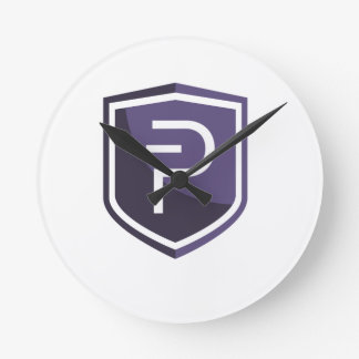 Purple Shield PIVX Round Clock