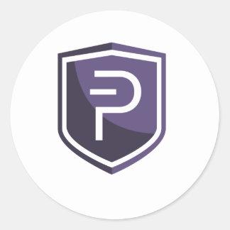 Purple Shield PIVX Round Sticker