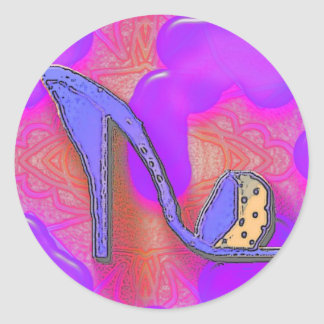 purple shoe on pink and purple background classic round sticker