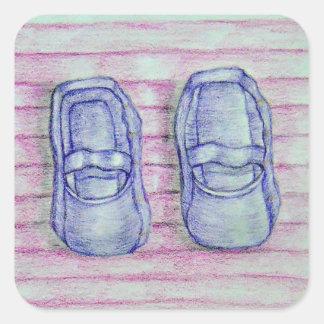 purple shoes square sticker