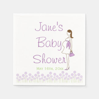 Purple Silhouette Baby Shower Napkins Disposable Napkins