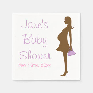 Purple Silhouette Baby Shower Napkins Paper Napkins
