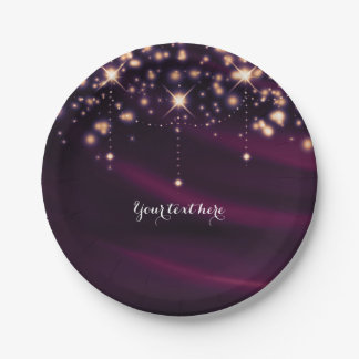 Purple Silk & Gold Sparkle Elegant Glam Party 7 Inch Paper Plate