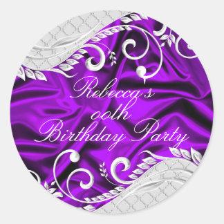 Purple Silk & Silver Swirl Birthday Sticker