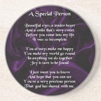 Purple Silk - Special Person poem Drink Coasters