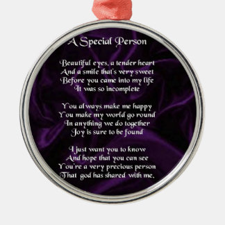 Purple Silk - Special Person poem Metal Ornament