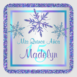 Purple Silver Aqua Glitter LOOK Snowflakes Sticker