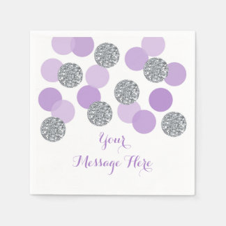 Purple & Silver Baby Shower Napkins Disposable Napkins