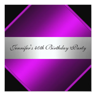 Purple Silver  Birthday Party Invitation