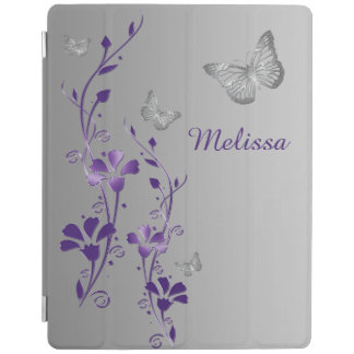 Purple Silver Butterflies, Floral iPad 2/3/4 Cover iPad Cover