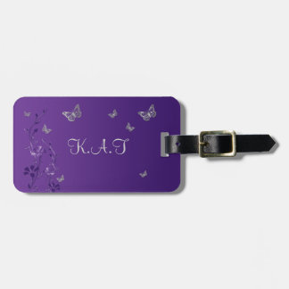 Purple, Silver Butterfly Floral Luggage Tag