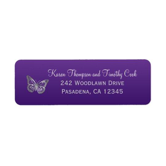 Purple, Silver Butterfly Return Address Label