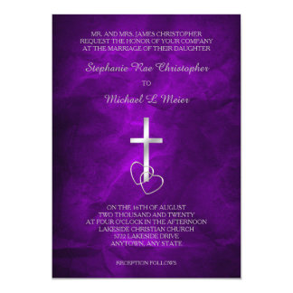 Purple Silver Christian Cross Wedding Invitation