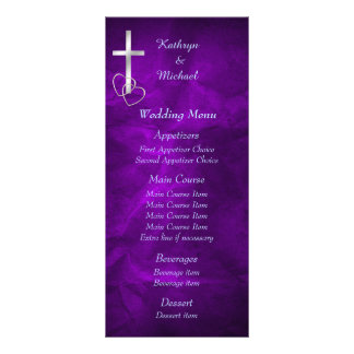 Purple Silver Christian Cross Wedding Menu