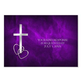Purple Silver Christian Cross Wedding RSVP Card