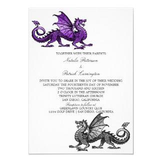 Purple Silver Dragon Wedding Invite