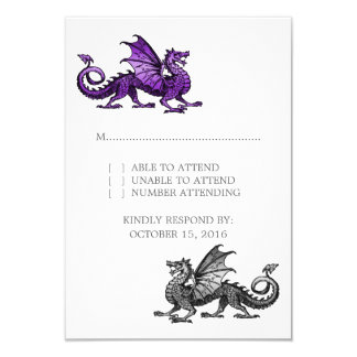 Purple Silver Dragon Wedding Response Card