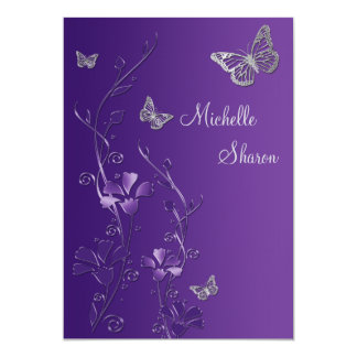 Purple Silver Floral with Buttterflies Bat Mitzvah Card