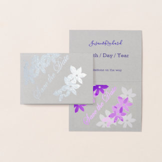 purple - silver  flowers - save the date foil card