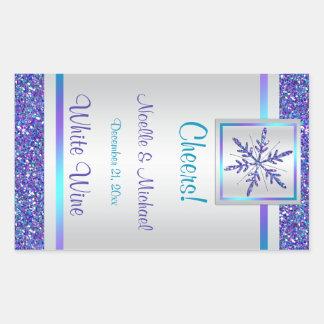 Purple Silver Glitter Snowflake Wedding Wine Label