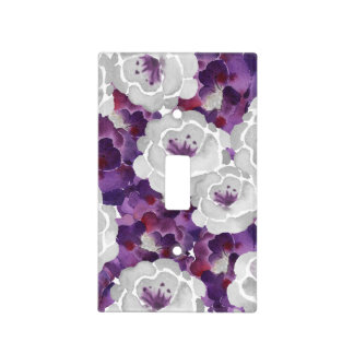 purple silver gray floral watercolor switch cover