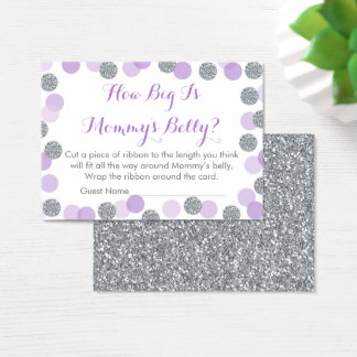 Purple & Silver How Big Is Mommy's Belly Game Business Card