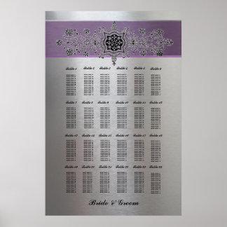 Purple Silver Metallic Large Seating Chart Poster
