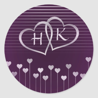 Purple & Silver Monogram Heart Classic Round Sticker